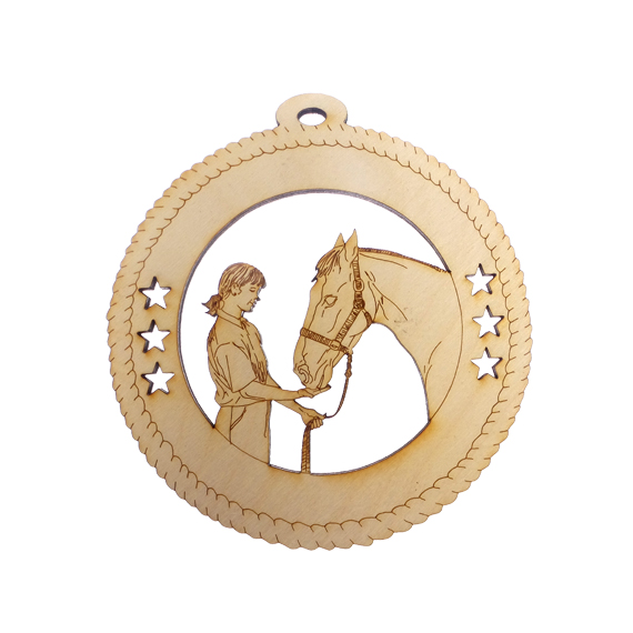Girl Greeting Horse Ornament