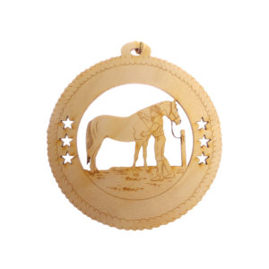 Girl Grooming Horse Ornament