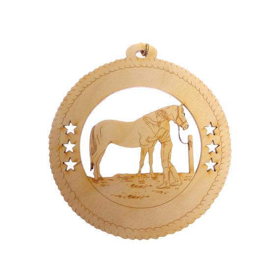 Girl Grooming Horse Ornament
