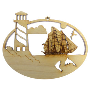 Lighthouse Tallship Ornament