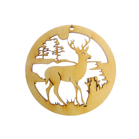 Deer scene ornament for Wildlife christmas cards 2016