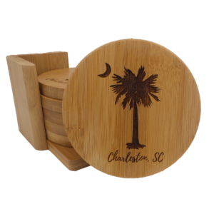 Palm and Moon Bamboo Coasters