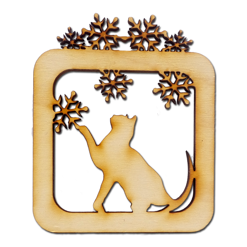 Personalized Cat Playing with Snowflakes Ornament